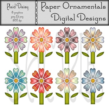 Clip Art or Clip art:  Plaid Daisy Set