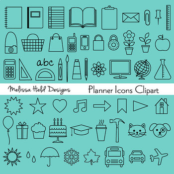 Clipart: Planner Icon Set Black White