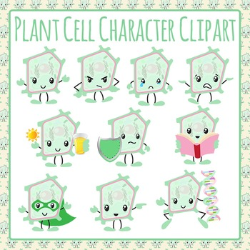 Plant Cells Character Emotions Clip Art Pack for Commercial Use