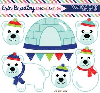 Clipart - Polar Bears Boys Igloo and Bunting Digital Graphics Set