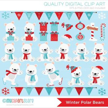 Clipart - Christmas / Winter Polar Bears