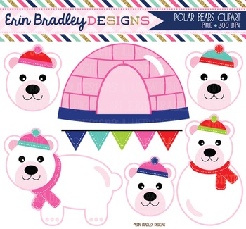 Clipart - Polar Bears Girls Pink Igloo and Bunting Digital Graphics Set