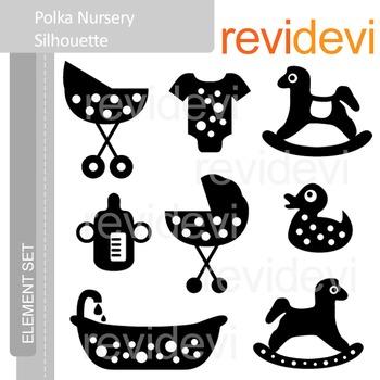 Clipart Polka Nursery Silhouette (maternity, baby themed clip art)