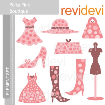 Clipart Polka Pink Boutique E022 (fashion, mannequin, dress, boots, purses)