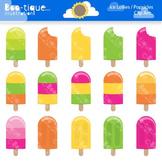 Clipart- Summer Popsicles Clip Art, Ice Lollies Clipart, Ice Lolly Clip Art.