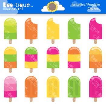 Clipart- Summer Popsicles Clip Art, Ice Lollies Clipart, I