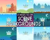 Backgrounds Clipart - Mixed Scenes 1 (Lime and Kiwi Designs)