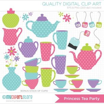 Clipart - Princess Tea Party / Tea Set (Polka Dots)