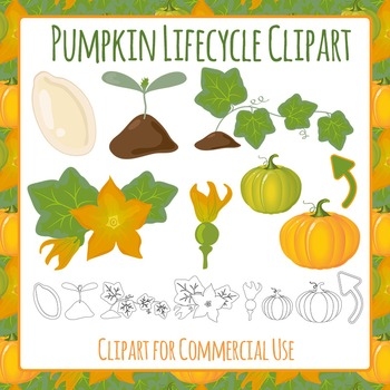 Pumpkin Life Cycle Clip Art Pack for Commercial Use