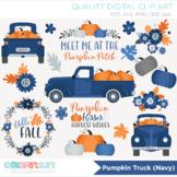 Clipart - Pumpkin Truck (Navy Blue) Fall, Autumn, Thanksgiving, Farmhouse