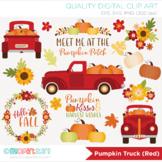 Clipart - Pumpkin Truck (Red) Fall, Autumn, Thanksgiving, Farmhouse