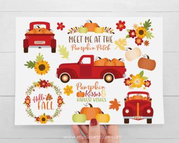 Clipart - Pumpkin Truck (Red) Fall, Autumn, Thanksgiving ...