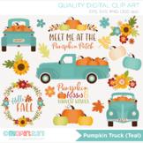 Clipart - Pumpkin Truck (Teal) Fall, Autumn, Thanksgiving, Farmhouse