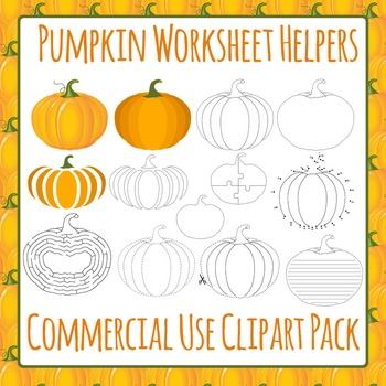 Pumpkin Worksheet Helpers Clip Art for Commercial Use