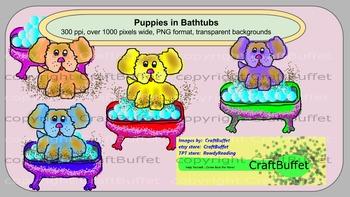 Clipart, Puppy in Bathtub, dog, tub, bath, in, dog in tub, puppy in bathtub, dog