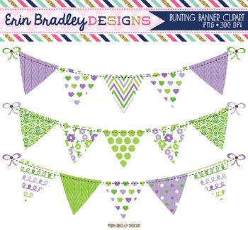 Clipart - Purple & Green Bunting