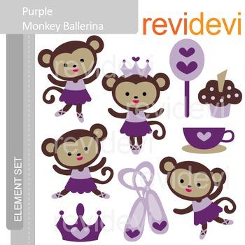 Clipart Purple Monkey Ballerina - Cute clip art E072