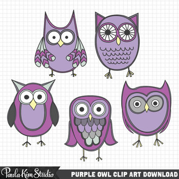 Clipart - Purple Owls
