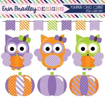 Clipart - Purple Owls and Pumpkins