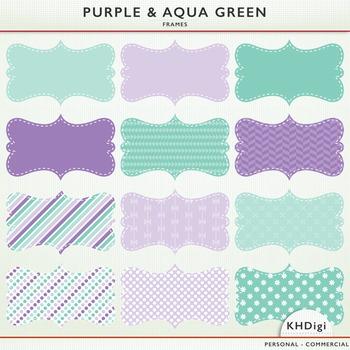 Clipart - Purple and Aqua Green Frames / Labels