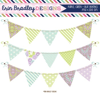 Clipart - Purple Green & Blue Bunting