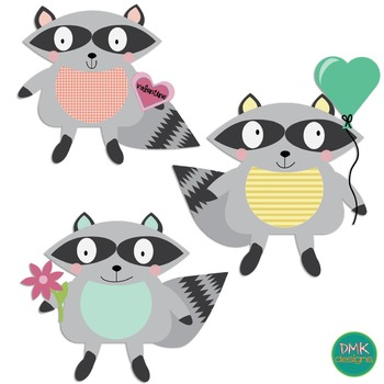 Clipart- Raccoon- Valentine's Day- Hearts
