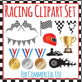 Racing Clip Art Set for Commercial Use