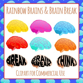 Brain Break and Brains in Rainbow Colors Clip Art Pack for Commercial Use