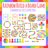 Build a Board Game Pack (Rainbow) Templates for Boardgames Clip Art / Clipart