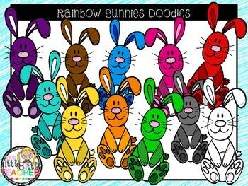 Clipart - Rainbow Bunny Doodles