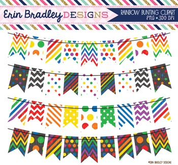 Clipart - Rainbow Bunting Banner Flags Instant Download Graphics