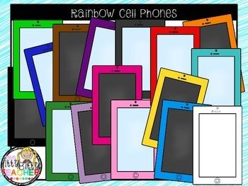 Clipart - Rainbow Cell Phones