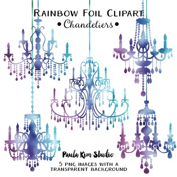 Clipart - Rainbow Foil Chandeliers