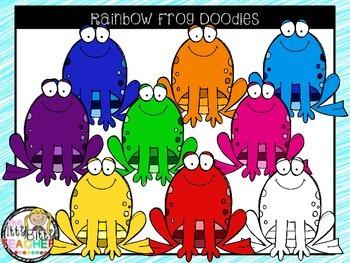 Clipart - Rainbow Frog Doodles