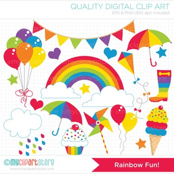 Clipart - Rainbow Fun (Primary Colors) / Seasons