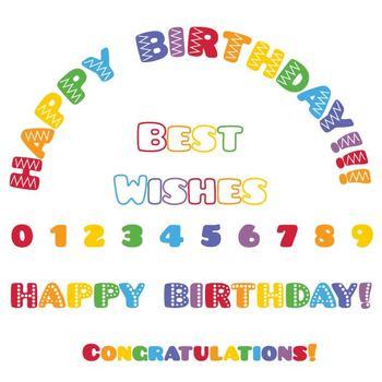 Clipart- Rainbow Happy Birthday Clip Art. Numbers Clipart.