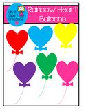 Clipart - Rainbow Heart Balloons