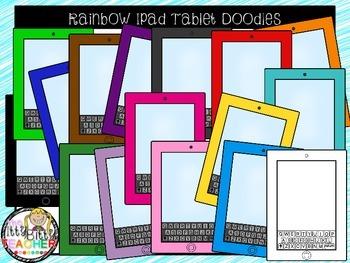 Clipart - Rainbow Ipad Tablet Doodles