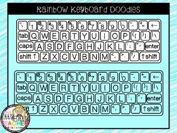 Clipart - Rainbow Keyboard Doodles