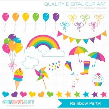 Clipart - Rainbow Party (Pastel Colors) / seasons