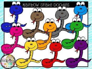 Clipart - Rainbow Snake Doodles