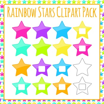 Stars Rainbow Colors Clip Art Pack for Commercial Use