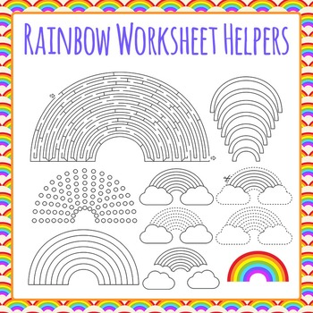 Rainbow Worksheet Helpers Clip Art Pack for Commercial Use