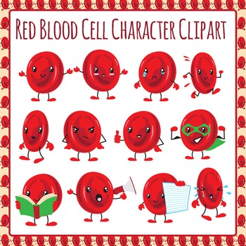 Red Blood Cell Character Clip Art Pack for Commercial Use