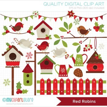 Clipart - Christmas / Red Robin / Red Cardinal