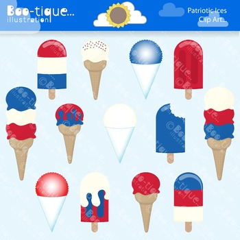 Clipart- Red, White & Blue Ices Clip Art. Popsicles, Ice Creams, Snow Cones