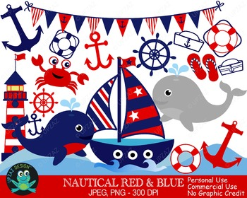 Patriotic Nautical Sailing Set {Upzaz Digital Clipart}
