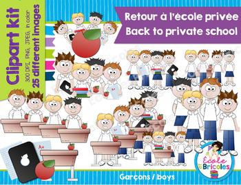 Clipart Retour A L Ecole Privee Garcons Back To Private School Boys