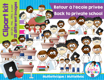 Clipart-Retour école privée (garçons ethnies)/Back private school (boys ethnics)