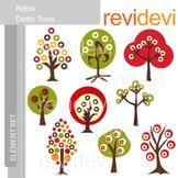 Clipart Retro Dotty Trees (nature, forest) clip art
